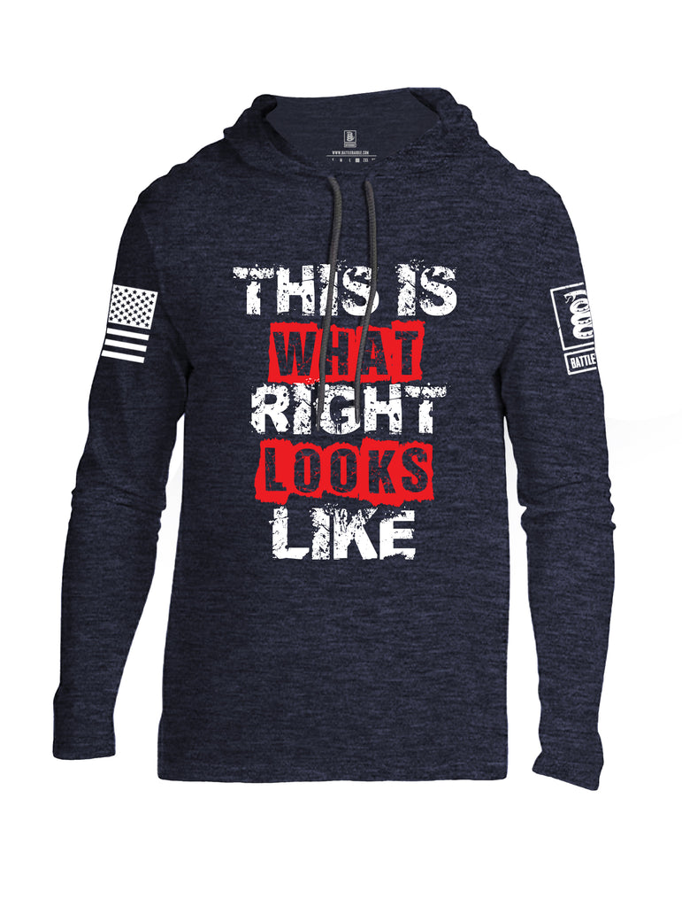 Battleraddle This Is What Right Looks Like White Sleeve Print Mens Thin Cotton Lightweight Hoodie