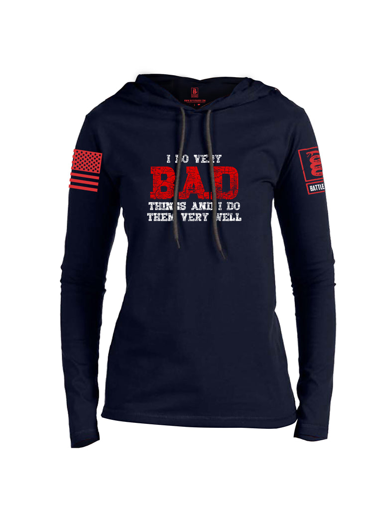 Battleraddle I Do Very Bad Things And I Do Them Very Well Red Sleeve Print Womens Thin Cotton Lightweight Hoodie