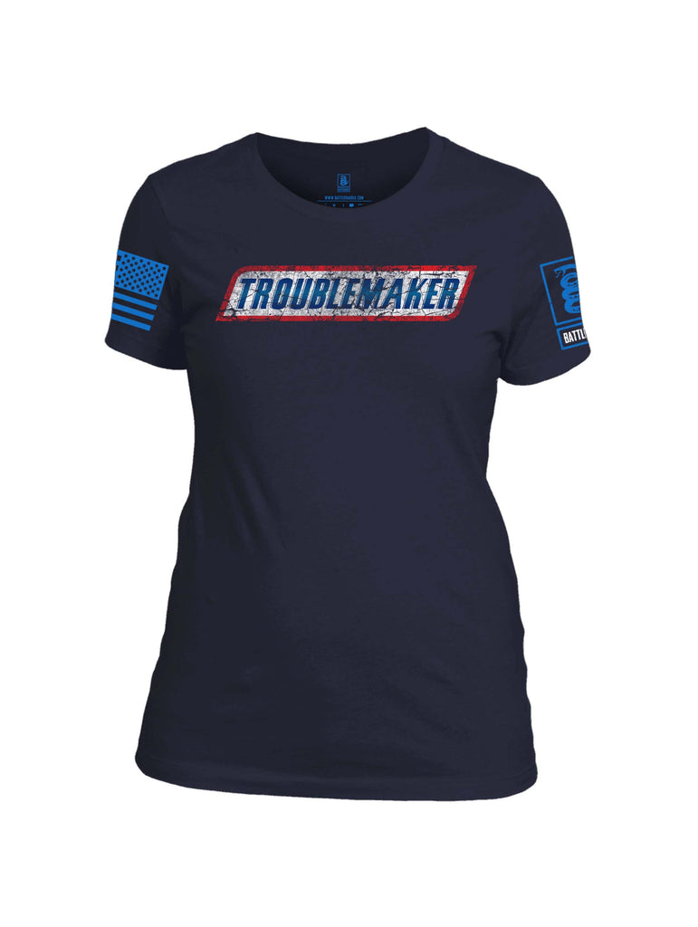 Battleraddle Troublemaker Blue Sleeve Print Womens 100% Battlefit Polyester Crew Neck T Shirt