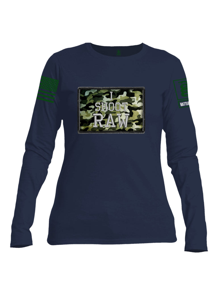 Battleraddle I Shoot Raw Green Sleeve Print Womens Cotton Long Sleeve Crew Neck T Shirt