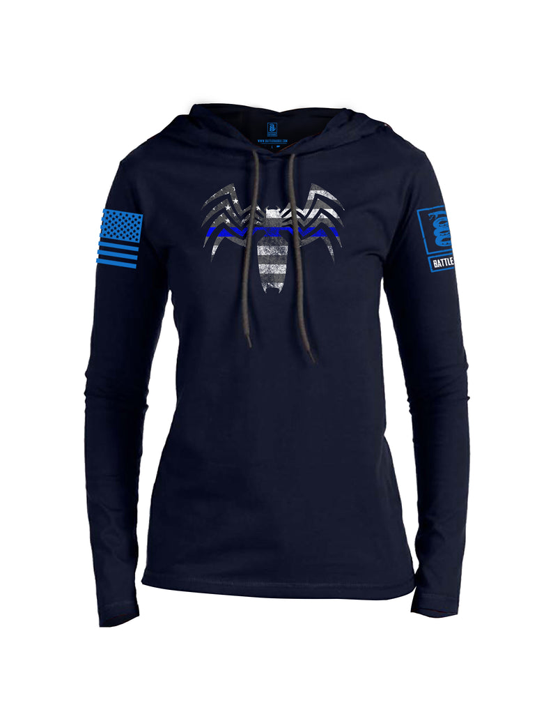 Battleraddle Venomize Flag Blue Line Blue Sleeve Print Womens Thin Cotton Lightweight Hoodie