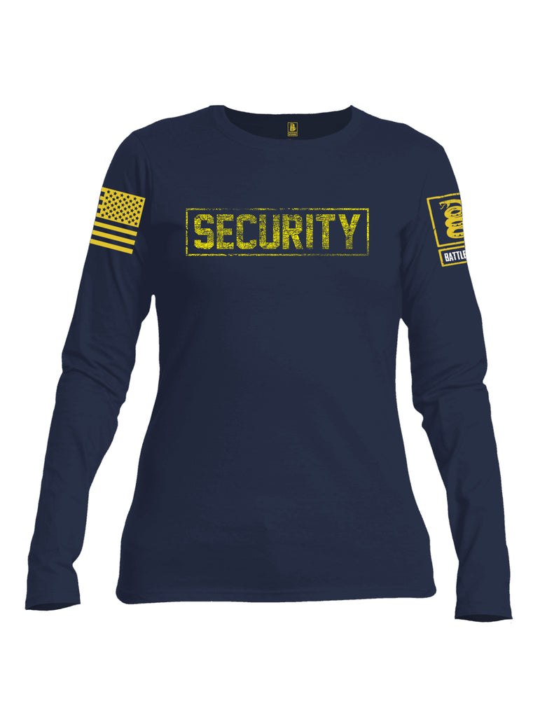 Battleraddle Security Yellow Sleeve Print Womens Cotton Long Sleeve Crew Neck T Shirt