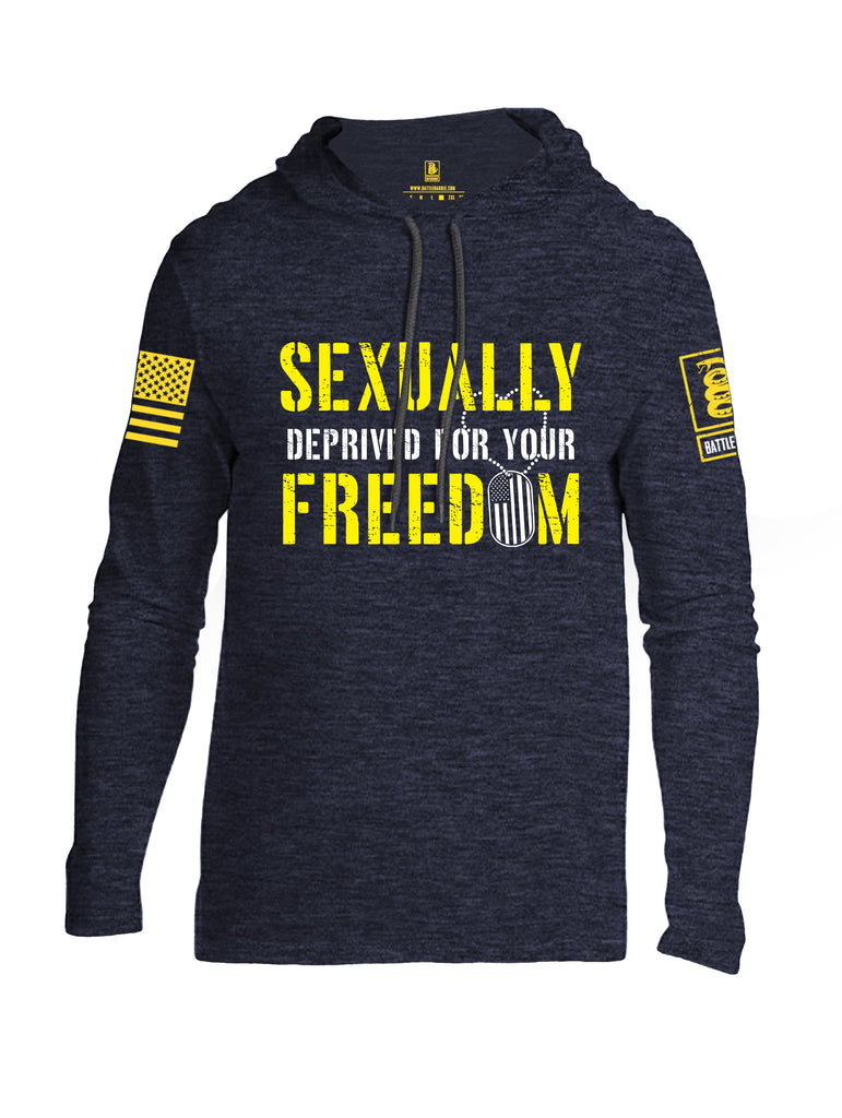 Battleraddle Sexually Deprived For Your Freedom Yellow Sleeve Print Mens Thin Cotton Lightweight Hoodie