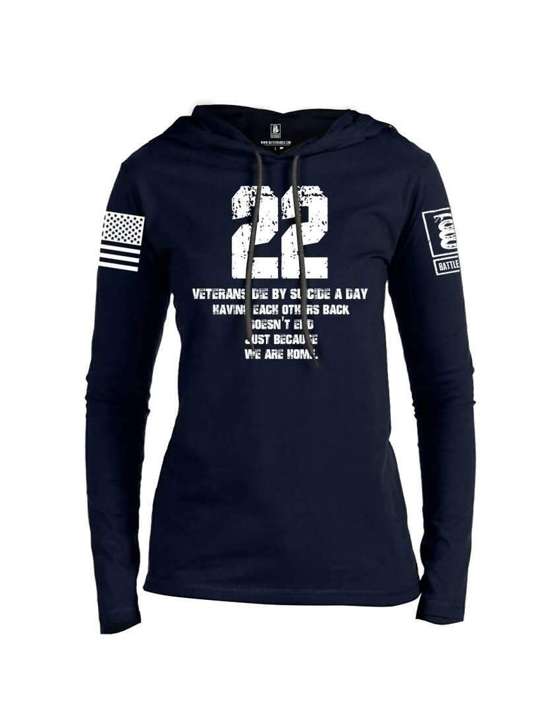 Battleraddle 22 Veterans Die By Suicide A Day White Sleeve Print Womens Thin Cotton Lightweight Hoodie