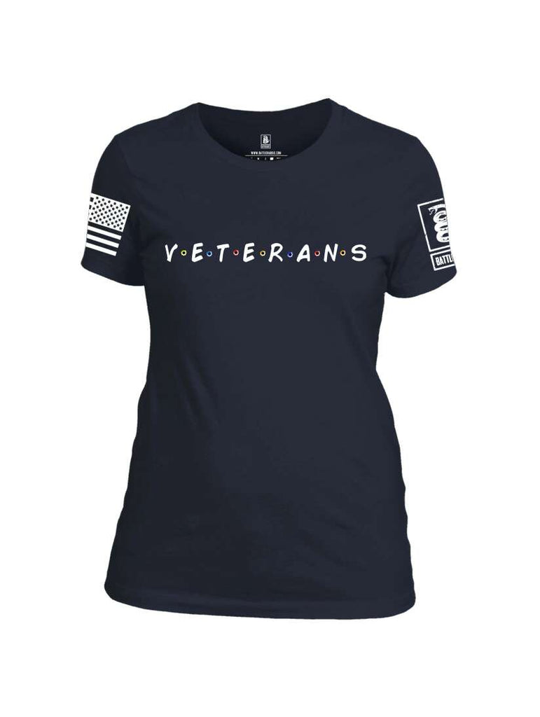 Battleraddle VETERANS White Sleeve Print Womens 100% Battlefit Polyester Crew Neck T Shirt