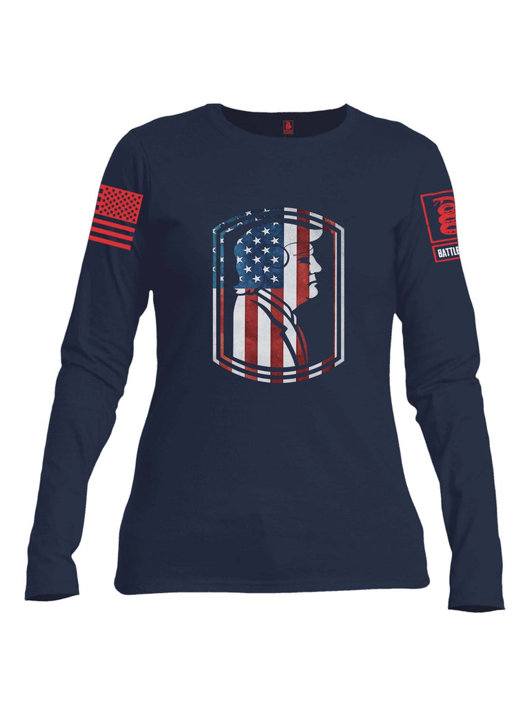 Battleraddle Trump Army USA Flag Red Sleeve Print Womens Cotton Long Sleeve Crew Neck T Shirt shirt|custom|veterans|Women-Long Sleeves Crewneck Shirt