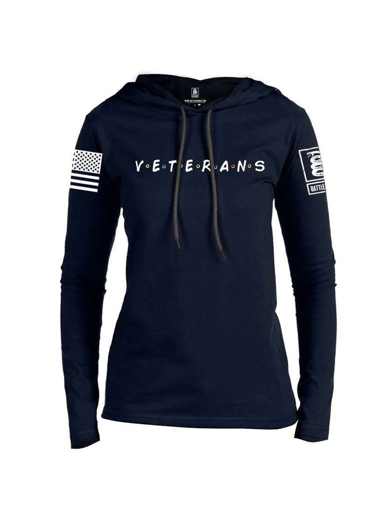 Battleraddle VETERANS White Sleeve Print Womens Thin Cotton Lightweight Hoodie
