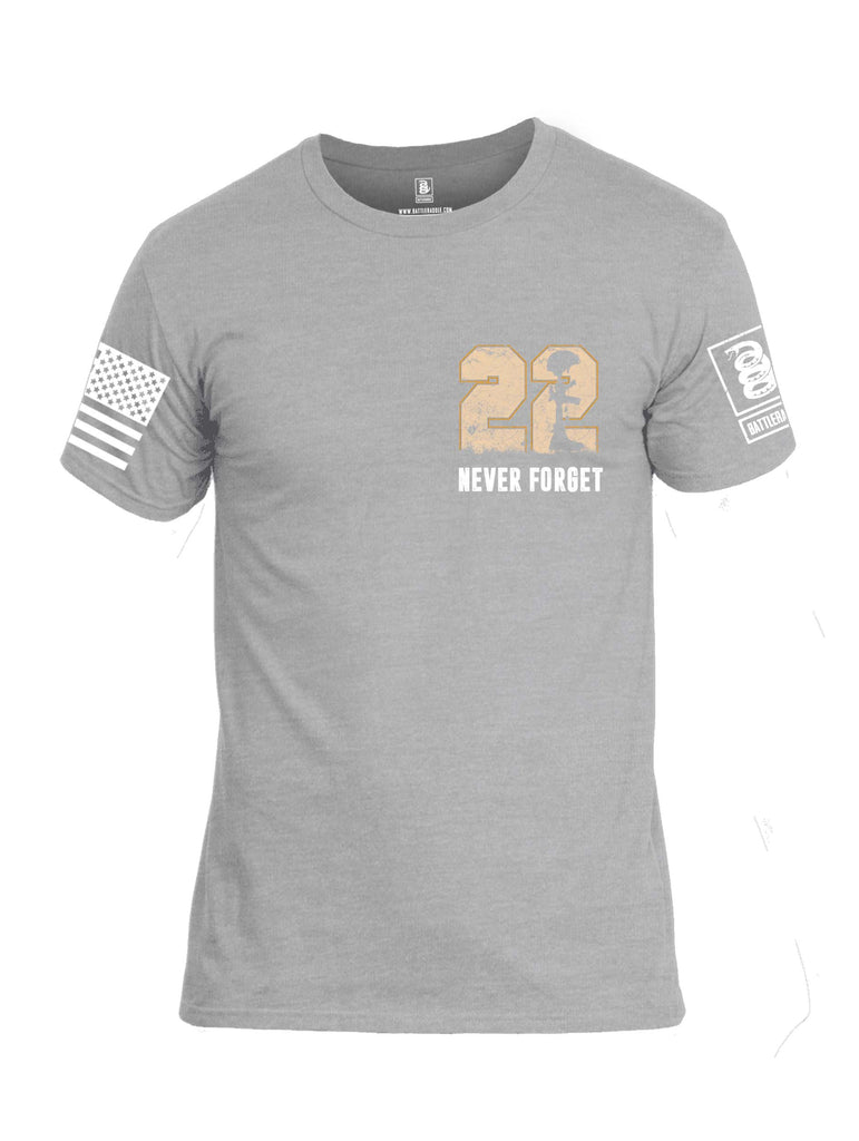 Battleraddle 22 Never Forget MVG Military Vape Group White Sleeve Print Mens Cotton Crew Neck T Shirt