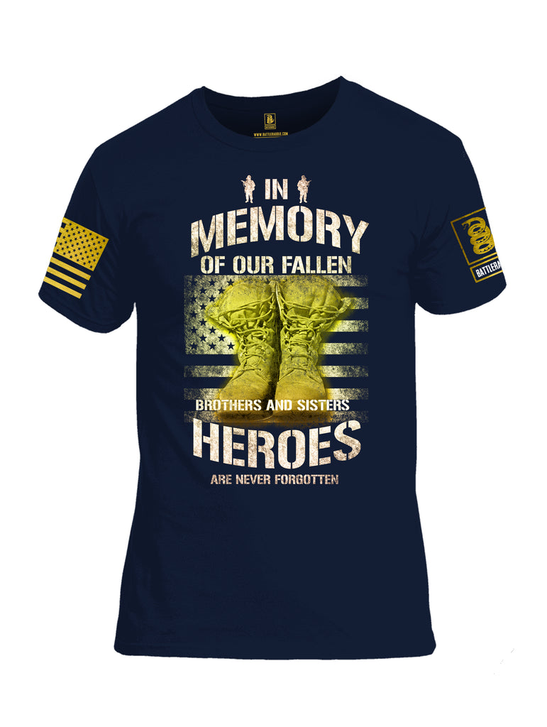 Battleraddle In Memory Of Our Fallen Brothers And Sisters Heroes Are Never Forgotten Brass Sleeve Print Mens Cotton Crew Neck T Shirt