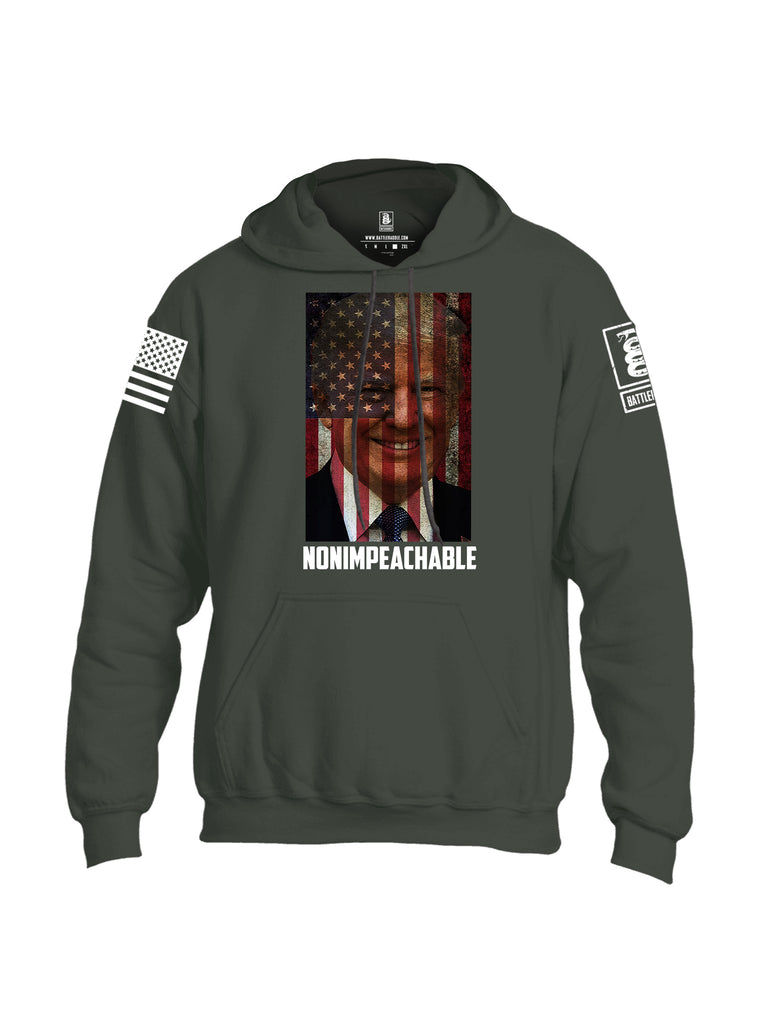 Battleraddle Trump Non Impeachable White Sleeve Print Mens Blended Hoodie With Pockets