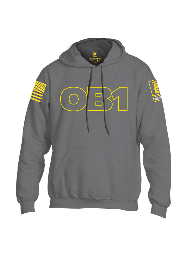 Battleraddle OB1 Yellow Sleeve Print Mens Blended Hoodie With Pockets