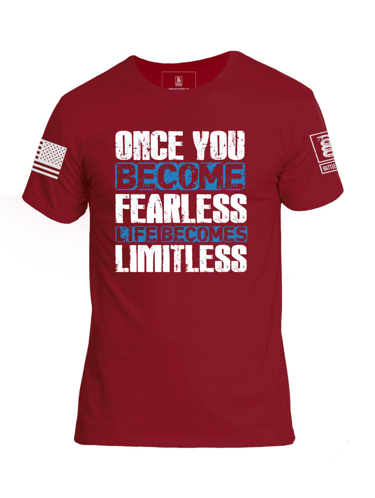 Battleraddle Once You Become Fearless Life Becomes Limitless White Sleeve Print Mens Cotton Crew Neck T Shirt