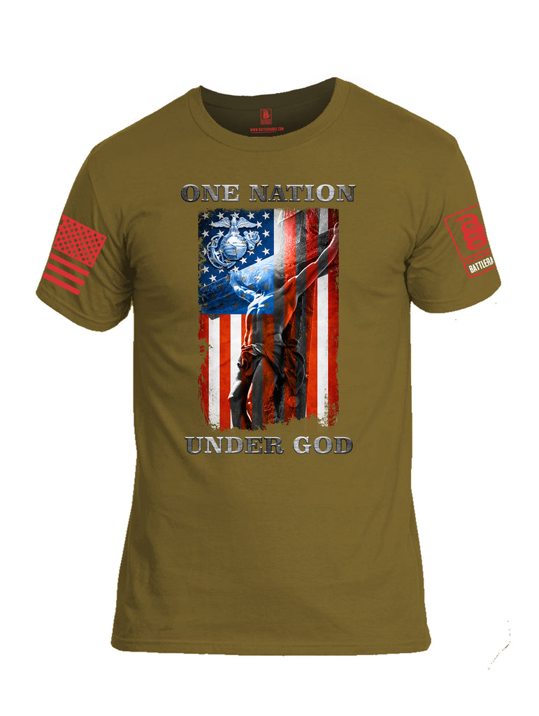 Battleraddle One Nation Under God Marine Red Sleeve Print Mens Cotton Crew Neck T Shirt