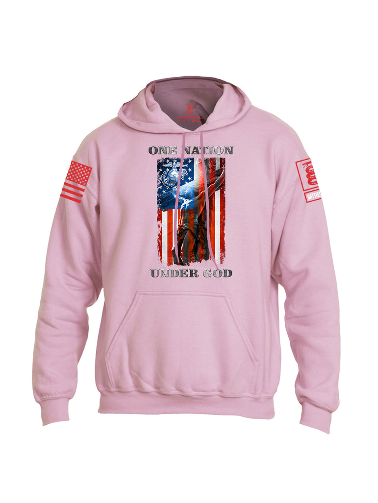 Battleraddle One Nation Under God Marine Red Sleeve Print Mens Blended Hoodie With Pockets
