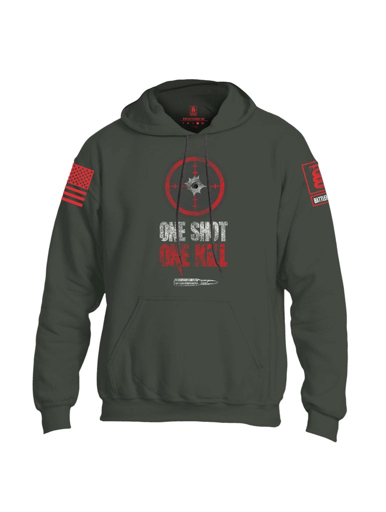 Battleraddle One Shot One Kill Red Sleeve Print Mens Blended Hoodie With Pockets