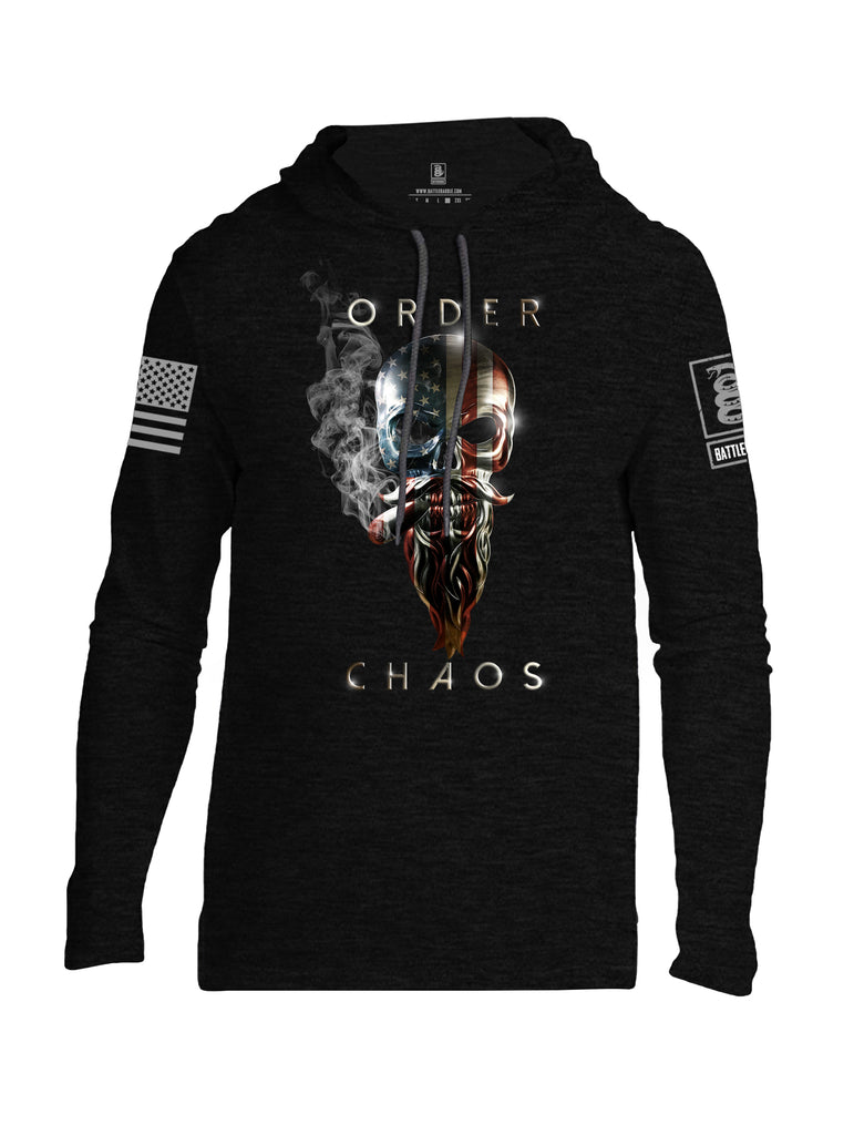 Battleraddle Order Chaos Skull American Flag Grey Sleeve Print Mens Thin Cotton Lightweight Hoodie