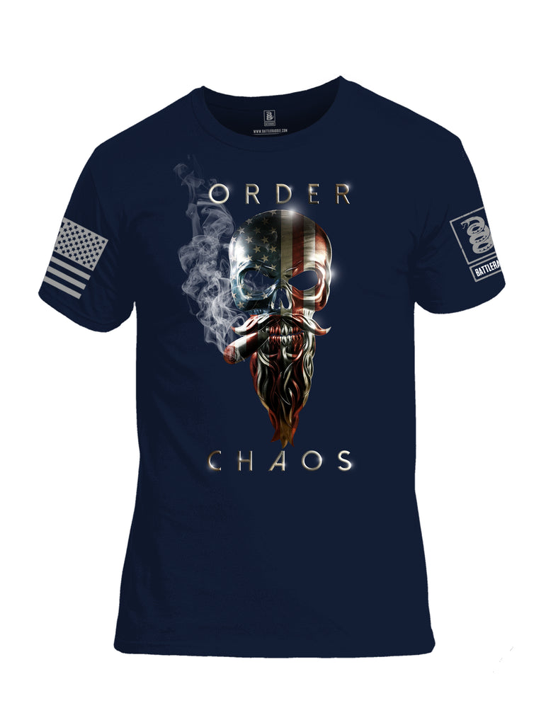 Battleraddle Order Chaos Skull American Flag Grey Sleeve Print Mens Cotton Crew Neck T Shirt