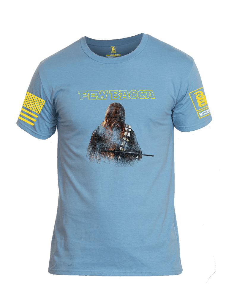 Battleraddle Pew Bacca Yellow Sleeve Print Mens Cotton Crew Neck T Shirt