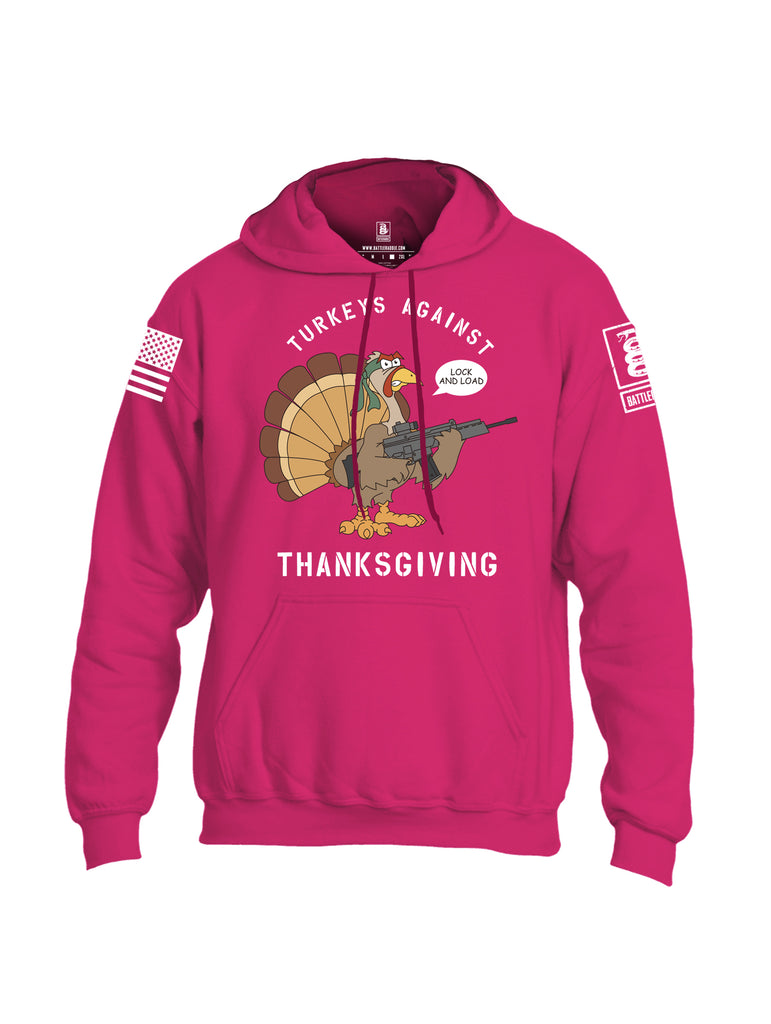 Battleraddle Turkeys Against Thanksgiving Lock And Load White Sleeve Print Mens Blended Hoodie With Pockets