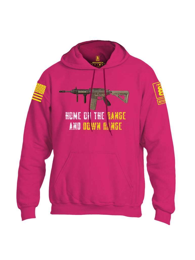 Battleraddle Home On The Range And Down Range V2 Yellow Sleeve Print Mens Blended Hoodie With Pockets