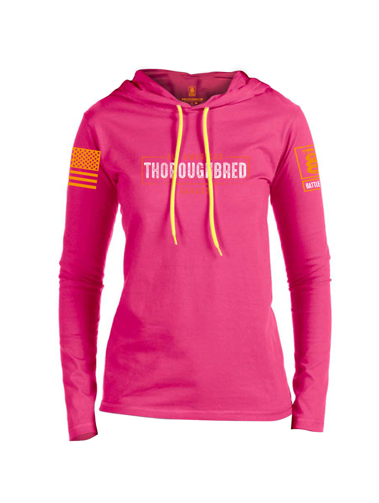 Battleraddle All American Thoroughbred Badass Orange Sleeve Print Womens Thin Cotton Lightweight Hoodie