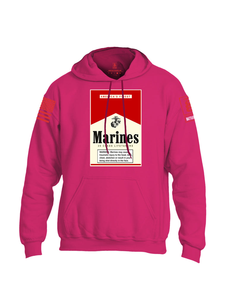 Battleraddle Marines 20 Class Lifetakers Red Sleeve Print Mens Blended Hoodie With Pockets