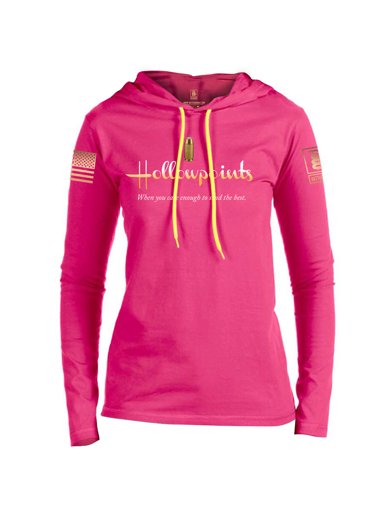 Battleraddle Hollowpoints When You Care Enough To Send The Best Brass Sleeve Print Womens Thin Cotton Lightweight Hoodie