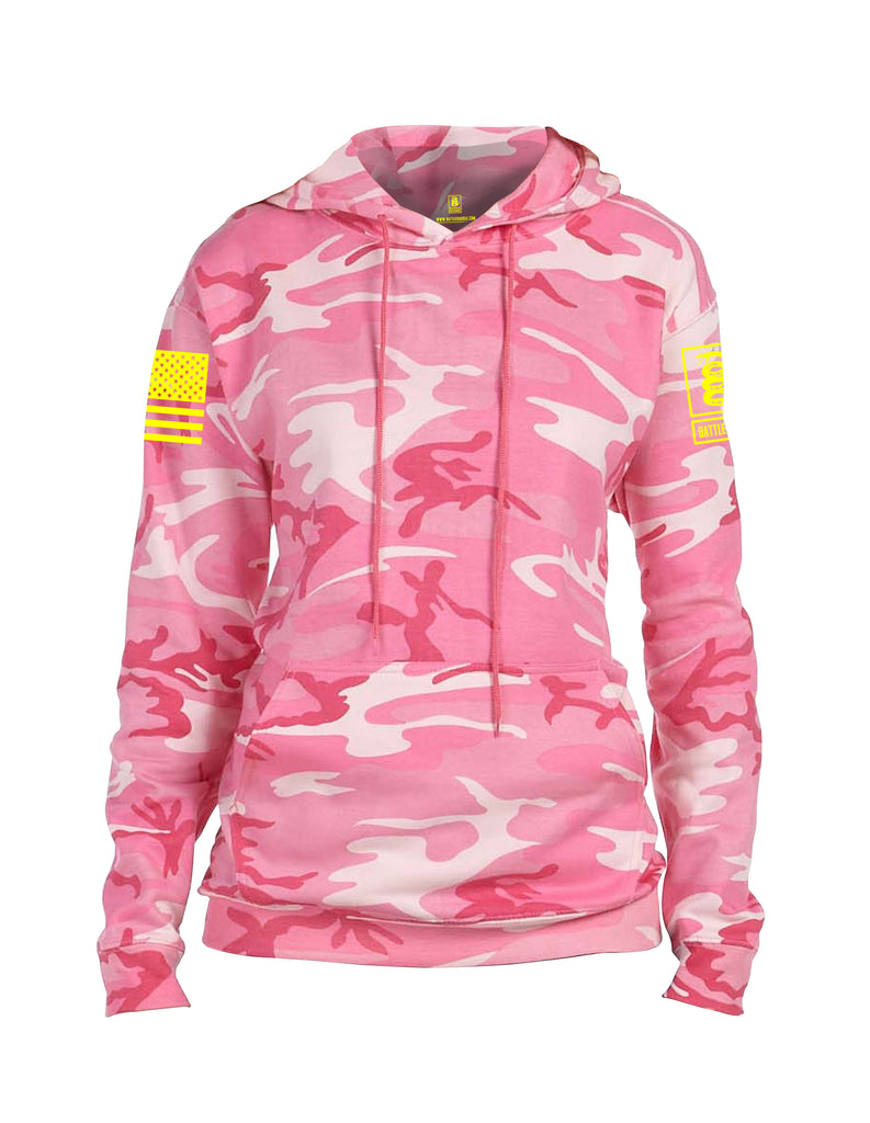 Battleraddle Basic Line Yellow Sleeve Print Womens Camo Blended Fleece Hoodie With Pockets - Battleraddle® LLC