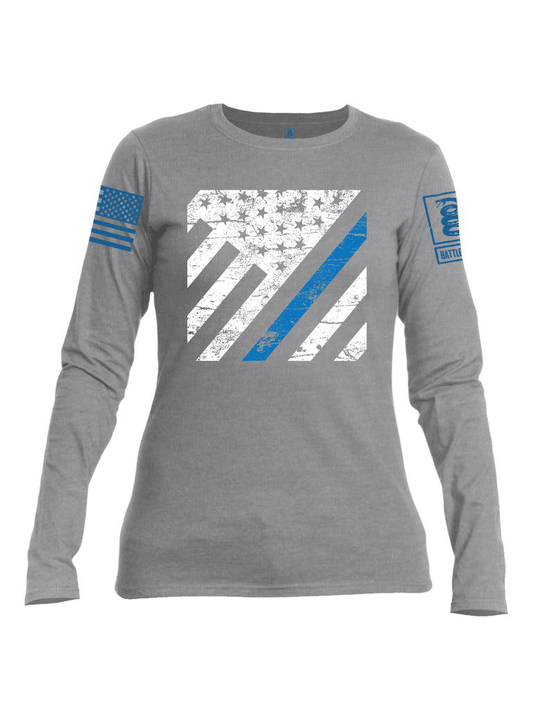 Battleraddle Vertical USA Flag Blue Line Blue Sleeve Print Womens Cotton Long Sleeve Crew Neck T Shirt