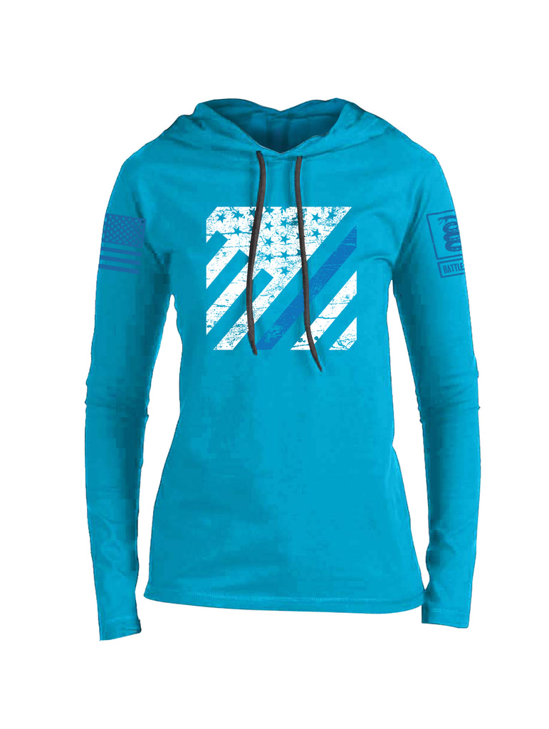 Battleraddle Vertical USA Flag Blue Line Blue Sleeve Print Womens Thin Cotton Lightweight Hoodie