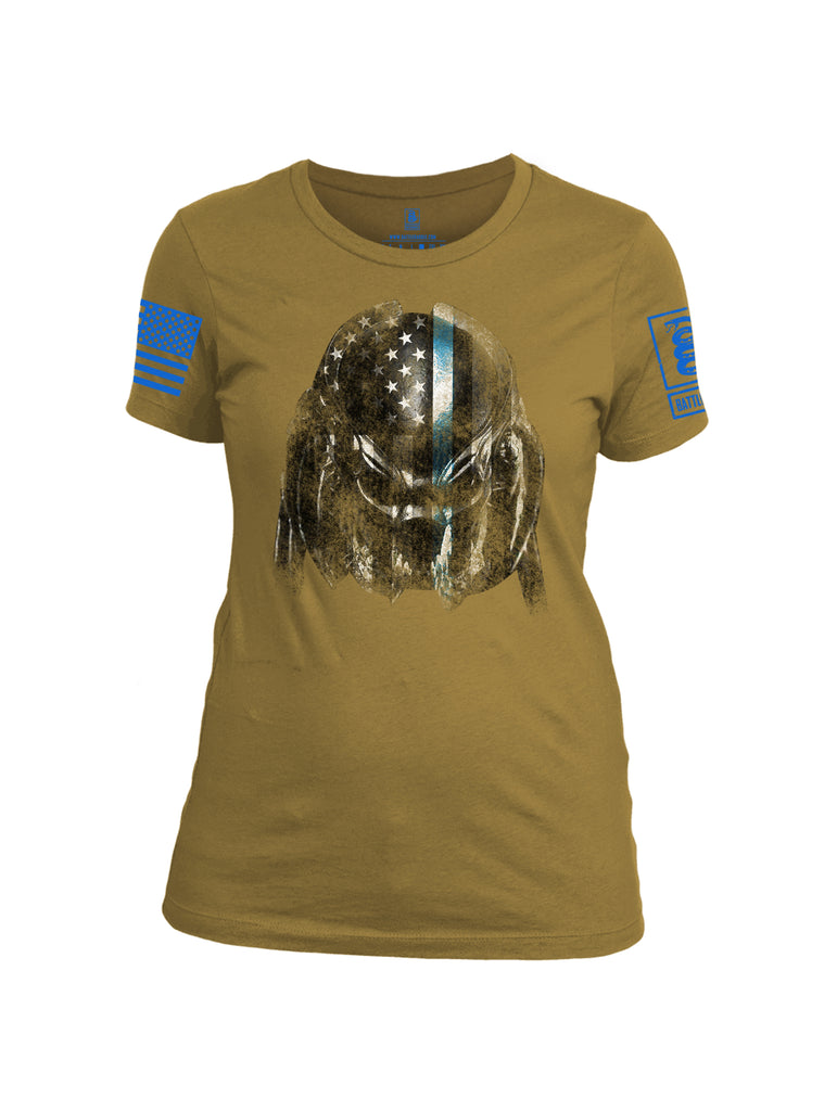 Battleraddle Superpatriot Alien Predator Hunter USA Flag Thin Blue Line Blue Sleeve Print Womens Cotton Crew Neck T Shirt