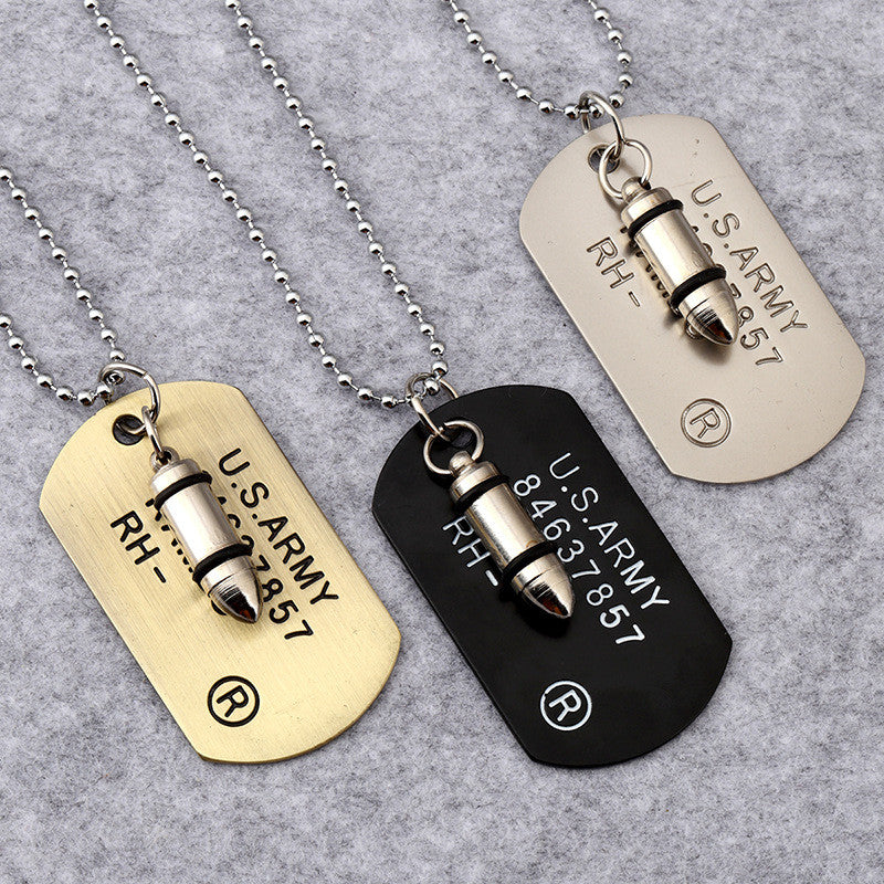 Battleraddle Military Dog Tag w Tactical Novelty Rounds Pendant Ball Chain Necklace