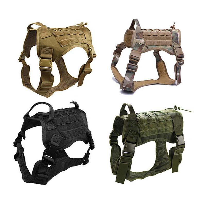 Battleraddle New Tactical Military Dog Clothes Adjustable Training Vest pet dog Harness 1000D Nylon Waterproof Camouflage Hunting