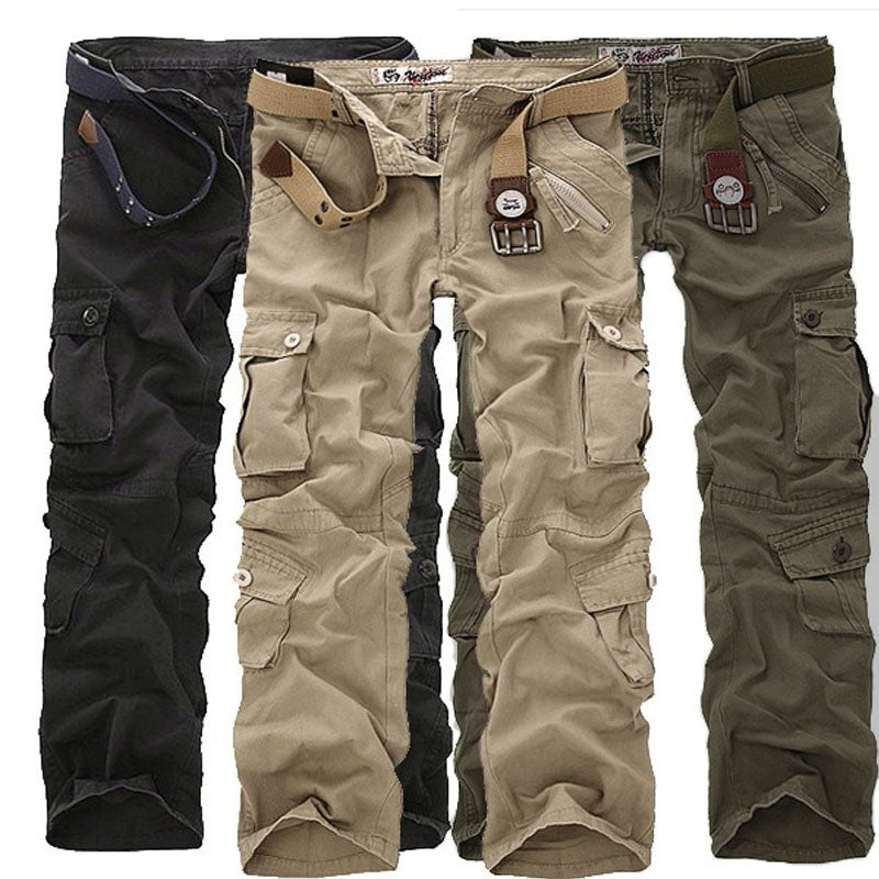 Military Long Cargo Overall Pants Casual Loose Pockets Work Trousers Plus Size Sweatpants Plus Size 40 42 44 46