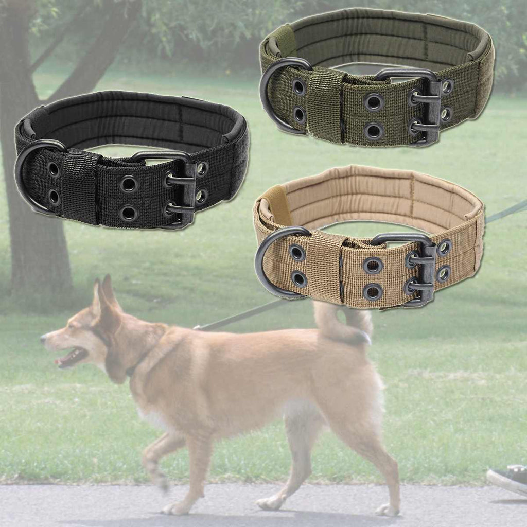 Battleraddle Nylon Tactical Harnesses Leads Military Adjustable Training Dog Pet Collar with Metal D Ring Buckle L Size