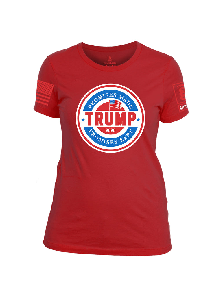 Battleraddle Promises Made Promises Kept Trump 2020 Red Sleeve Print Womens Cotton Crew Neck T Shirt