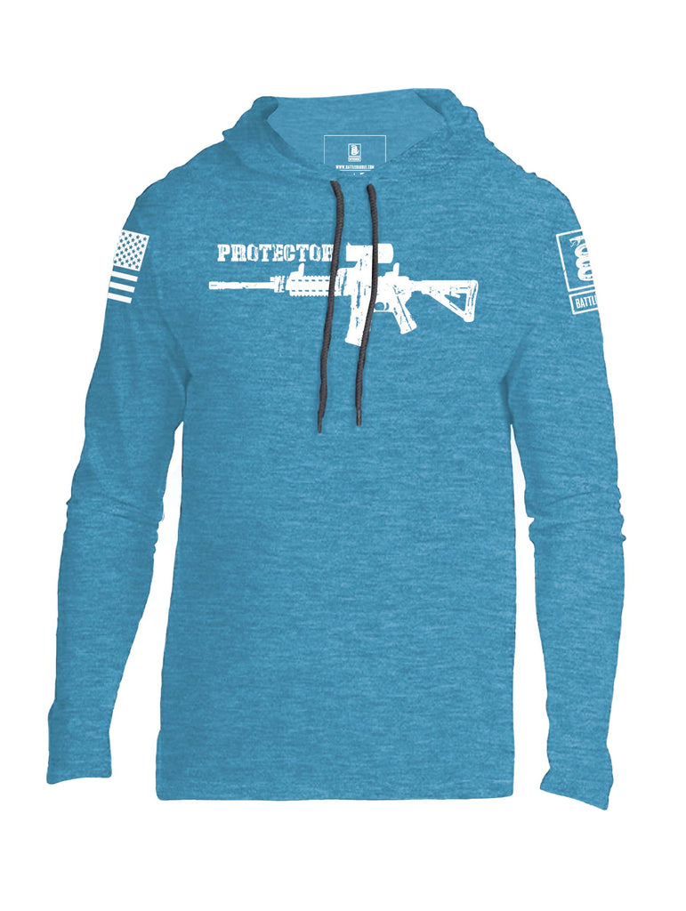 Battleraddle Protector AR15 White Sleeve Print Mens Thin Cotton Lightweight Hoodie