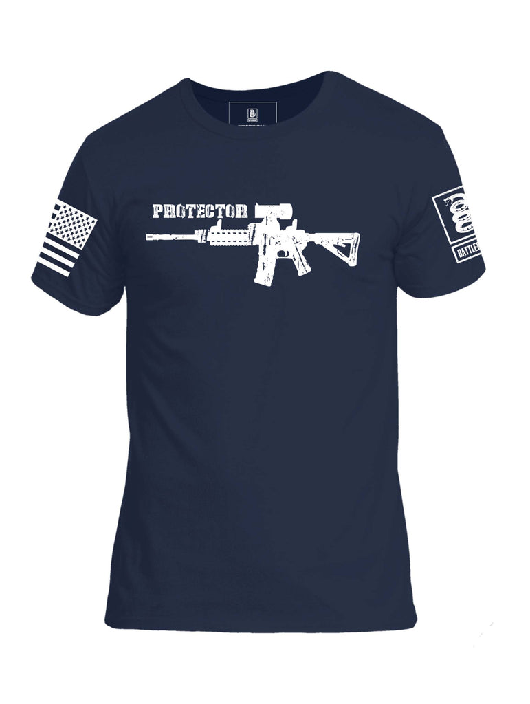 Battleraddle Protector AR15 White Sleeve Print Mens Cotton Crew Neck T Shirt