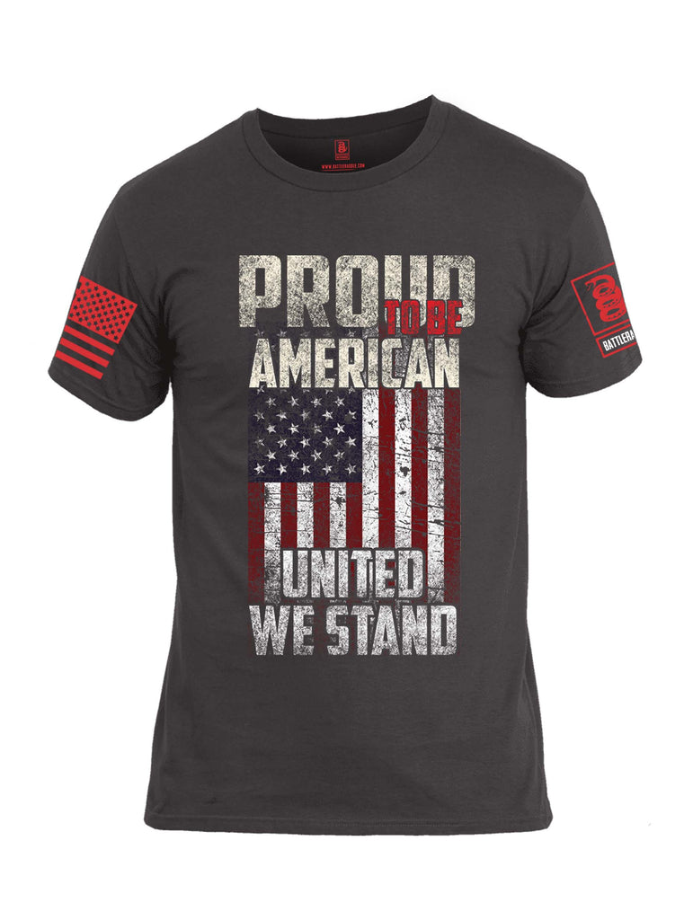 Battleraddle Proud To Be American United We Stand Red Sleeve Print Mens Cotton Crew Neck T Shirt