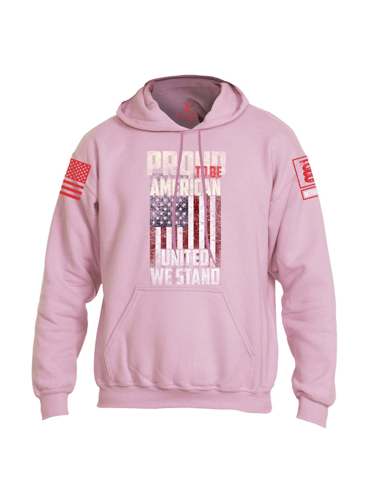 Battleraddle Proud To Be American United We Stand Red Sleeve Print Mens Blended Hoodie With Pockets