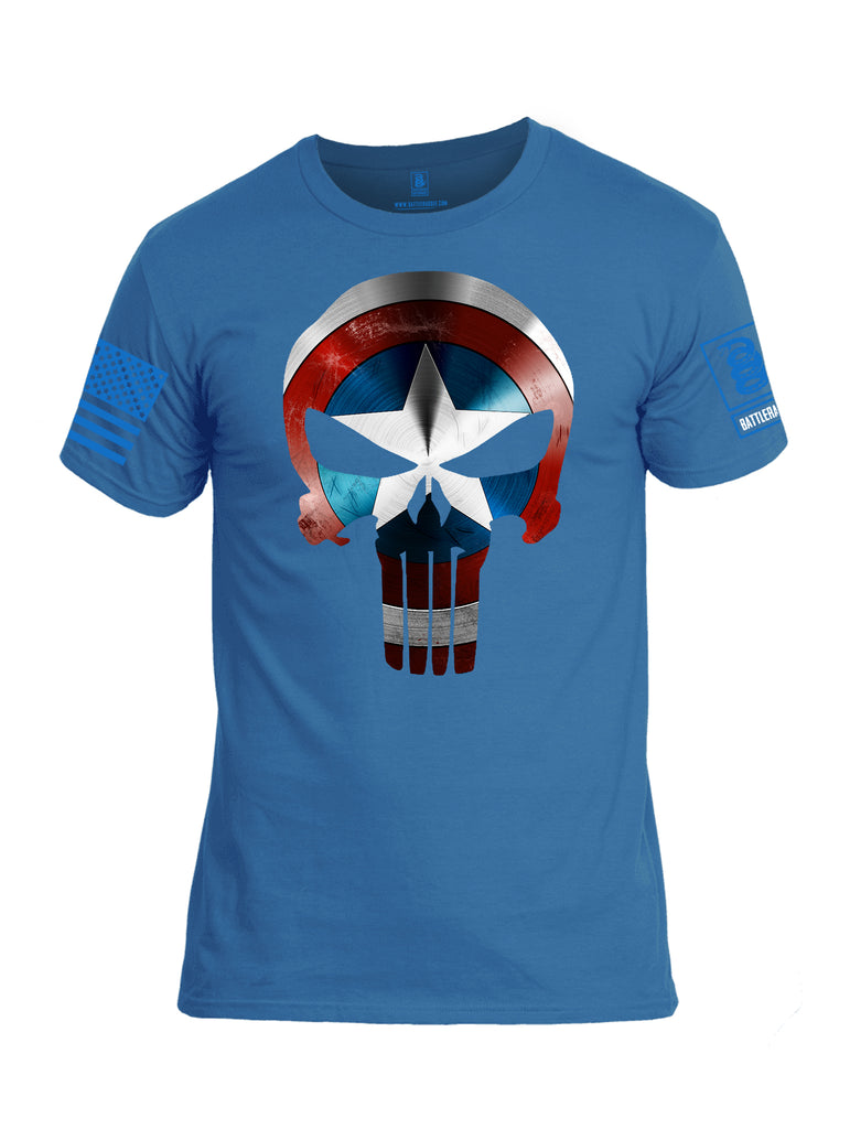 Battleraddle Mr Expounder Shield Captain Blue Sleeve Print Mens Cotton Crew Neck T Shirt