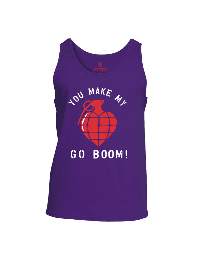 Battleraddle You Make My Heart Go Boom Mens Cotton Tank Top