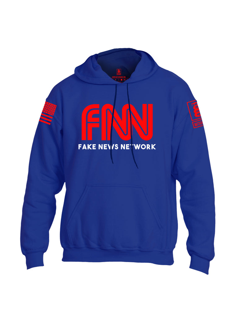 Battleraddle FNN Fake News Network Red Sleeve Print Mens Blended Hoodie With Pockets