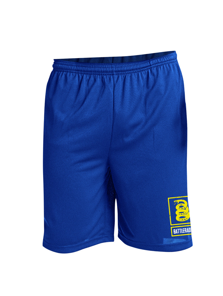 Battleraddle Snake Logo Yellow Leg Print 100% Battlefit Polyester Mens Elastic Waistband Shorts With Pockets