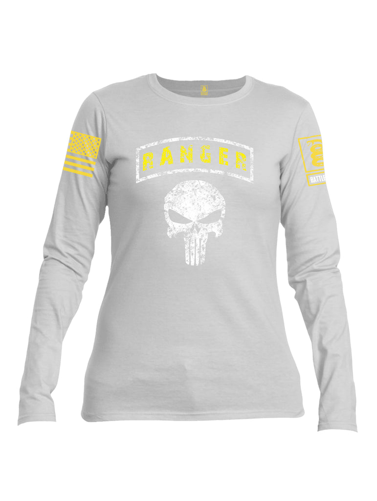 Battleraddle Ranger Tab Mr Expounder Skull Yellow Sleeve Print Womens Cotton Long Sleeve Crew Neck T Shirt