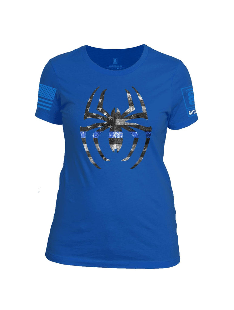 Battleraddle Webman Blue Line Blue Sleeve Print Womens 100% Battlefit Polyester Crew Neck T Shirt