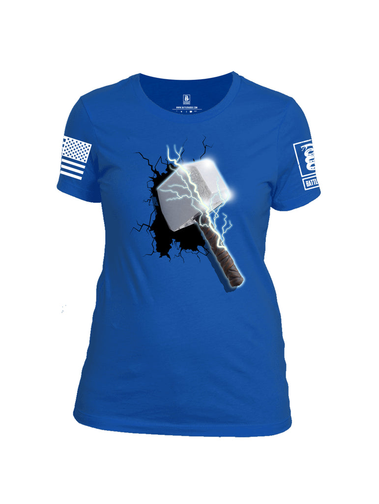 Battleraddle Thorific Hammer White Sleeve Print Womens 100% Battlefit Polyester Crew Neck T Shirt