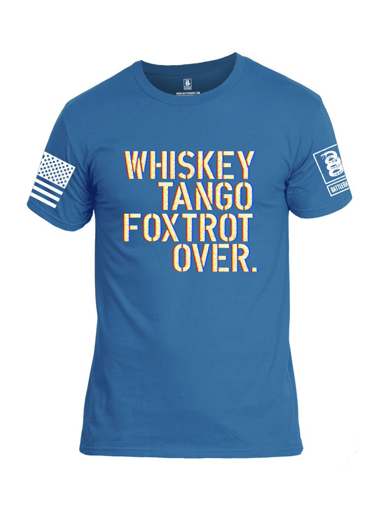 Battleraddle Whiskey Tango Foxtrot Over White Sleeve Print Mens Cotton Crew Neck T Shirt