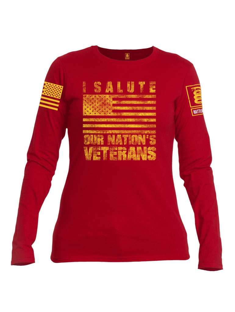 Battleraddle I Salute Our Nation's Veterans Yellow Sleeve Print Womens Cotton Long Sleeve Crew Neck T Shirt