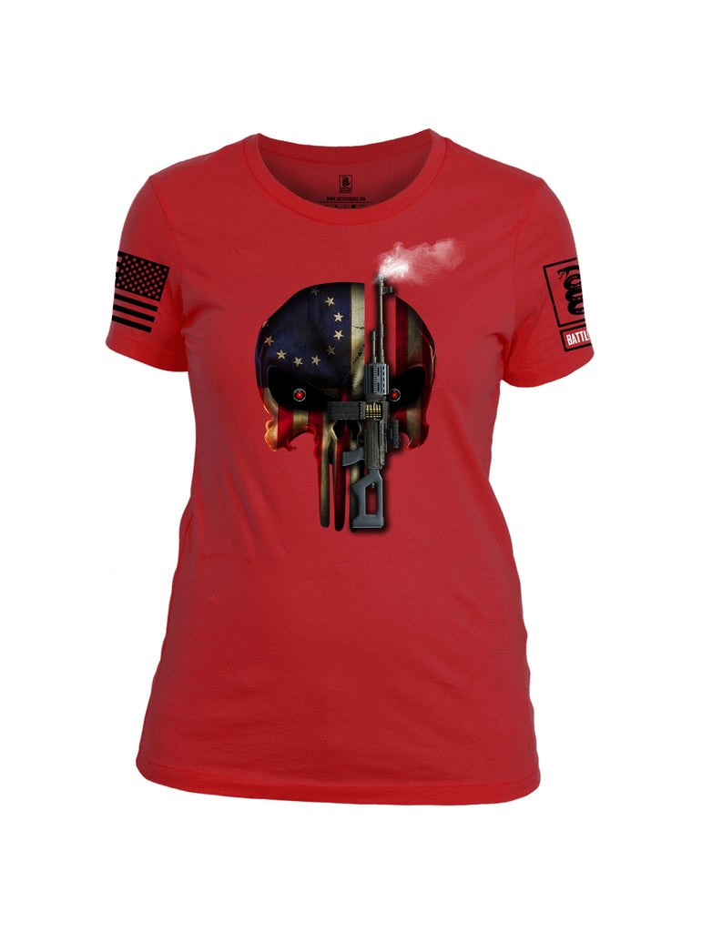 Battleraddle Expounder Machine Gun Black Sleeve Print Womens Cotton Crew Neck T Shirt